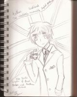 Arthur Kirkland with his Tea Lineart by vivtheviolinist