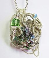 Steampunk Bismuth and Crystal Pendant in Silver by HeatherJordanJewelry