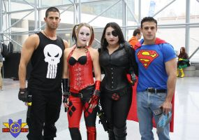 Punisher/Harley Quinn/Domino/Superman Cosplay by ConMenWebSeries
