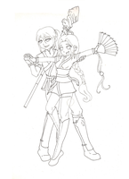 Harumi and Jirou lineart by Twisted0Muse0