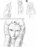 Adult Ahsoka Sketches by Raikoh-illust
