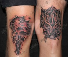 Griever and Fenrir Kneecaps by ChrisNettleTattoo