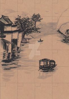 My schedule book cover in Chinese Painting style! by zeNoTam