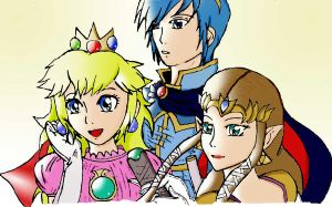 SSBB Peach, Marth and Zelda by animeprincess87