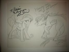 Fluttershy and Her Honor Snow (Autograph) by Lionel23