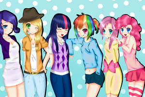 My Little Pony Human Group by xKittyblue
