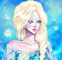 Elsa, Queen of Snowflakes by waywardgal