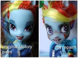 Equestria Girls Rainbowdash doll before and after by kamarza