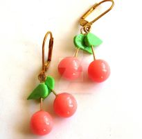 Pink Cherry Earrings by FatallyFeminine