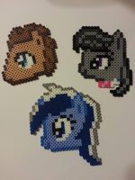Doctor Whooves, Octavia and Colgate Perler by CraftinNerdy