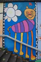 Staircase cat with stripes by Barefeet-in-the-rain