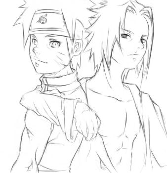 Sketch - Naruto and Sasuke by Mochito