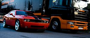Dodge Challenger vs Scania by lshortyl