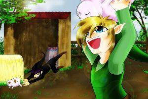 Link vs Dark Link Pig Catching Contest by Alamino