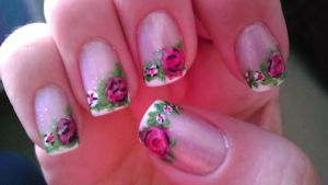 English Rose Nails by wolfgirl4716