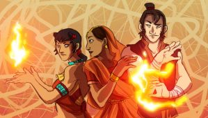 Famous Fire Nation Avatars (Koa, Atiya, Lee) by Avield