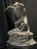 Wolfman with base by Blairsculpture