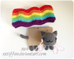 Nyan Cat Scarf WIP by xxtiffiee