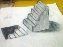 pencil art 3D ladder Up and Down by Gmuhammad-al