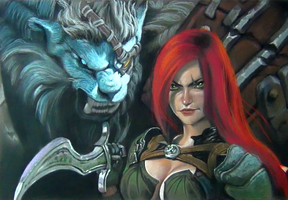 League of legends - Rengar and Katarina by ipstudio