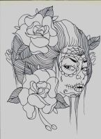 day of the dead girl sketch by TorieLarson