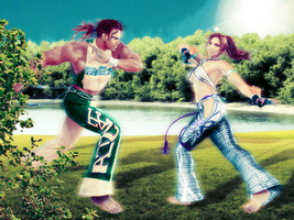 Wallpaper. Capoeira fighters by FromSilentHeaven