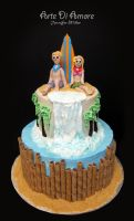 Surfer and Hula Girl Cake by ArteDiAmore