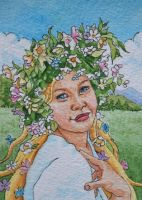 Nordic Spring Goddess ATC by waughtercolors