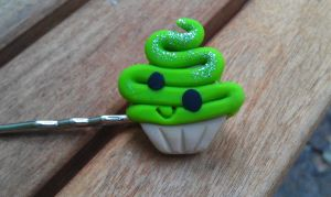 Kawaii Green Cup Cake Bobby by Gynecology