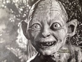 'Gollum' (Lord Of The Rings) - 2014 - (Drawing) by Stevegillettart