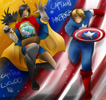 Captain America and Capitan Escudo by HiyoKinomono