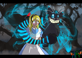 Alice and the Cheshire cat by Lifelessfreak