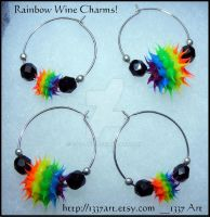 Rainbow Wine Charms by 1337-Art