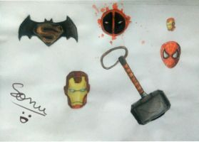 Trying to paint (super hero logos) by sonu9