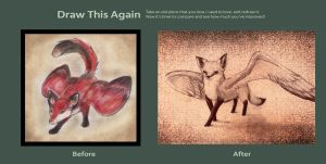 Winged Fox Before and after by BlightOfClouds