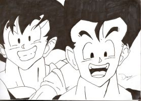 Father and Son Dragon ball Fan art by dragonmax