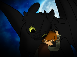 Toothless and Hiccup Hug by nanietta