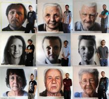 Large Scale Mixed Media Family Portraits by AtomiccircuS