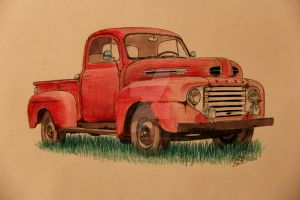 1949 Ford Truck Drawing by prestonthecarartist
