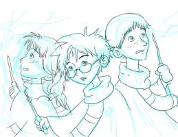 HP Trio - Doodles by katessence