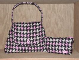 Pink Houndstooth Purse Set by pinktoque