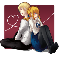 saber and gilgamesh by pasteltea