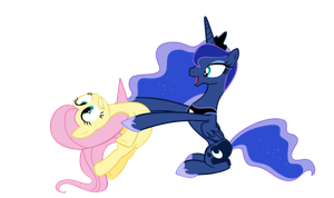 Luna And Fluttershy by sakatagintoki117