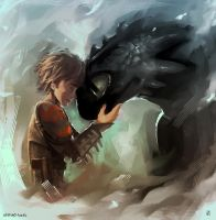hiccup and toothless by AkiMao