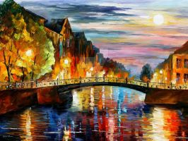 Over the bridge by Leonid Afremov by Leonidafremov