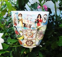 Plastic flower pot, old ships, medieval explorers by naraosart