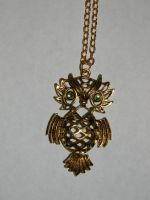 Gold Colored Owl on Gold-plated Chain Necklace by hiddenhearts3