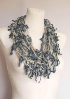 Crocheted fiber art necklace by NitkaAG