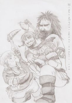 Bofur, Bombur and cousin Bifur sketch by Isis-90