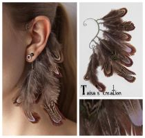 Brown feather ear cuff by Taisa-Gila-monster